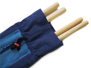 牧之原産織物/日本製 先染め織物 刺し子 バチ入れ